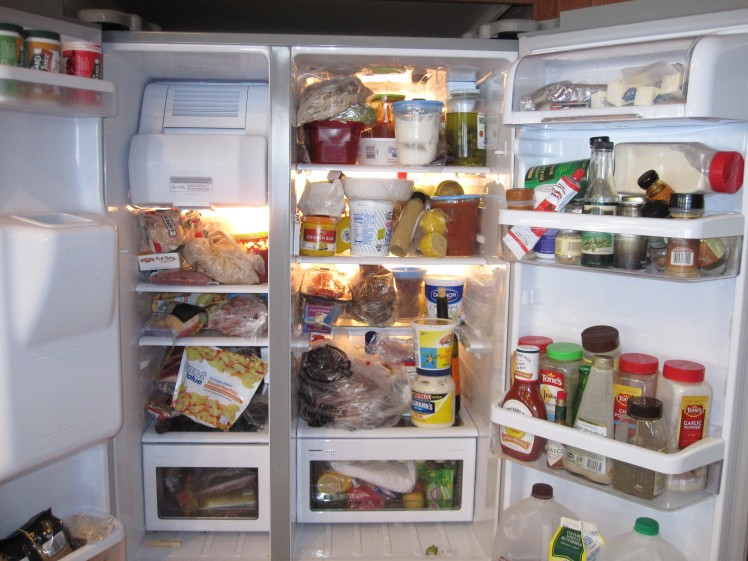 Cluttered unorganized fridge