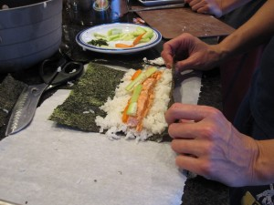 Making home-made sushi