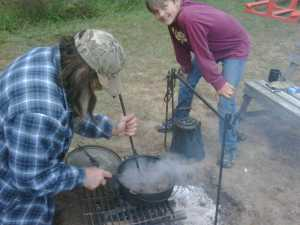 Cooking with venison over an open fire