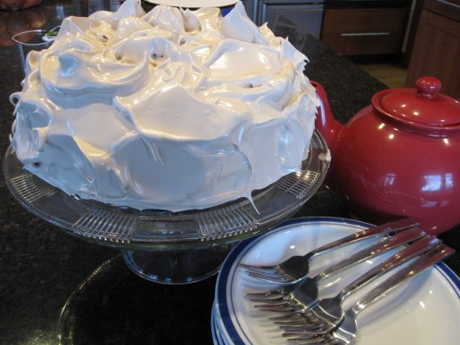 German Spice Cake with Sea Foam Frosting
