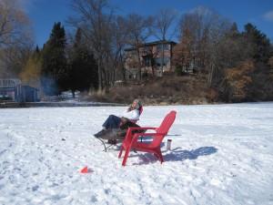 Ice fishing Lisa Erickson style