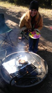 Cooking eggs on a campfire