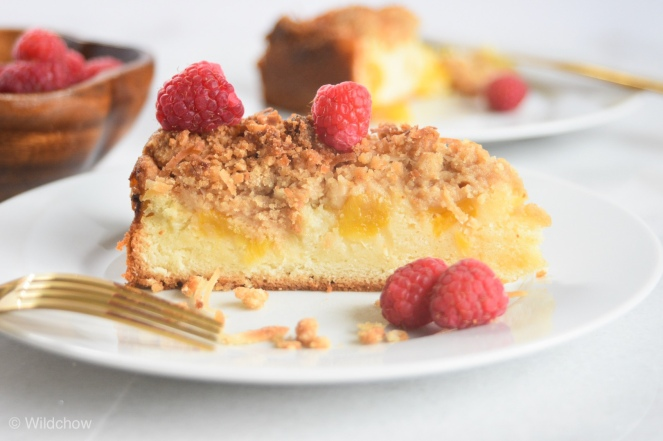 Pineapple crumb cake with raspberries